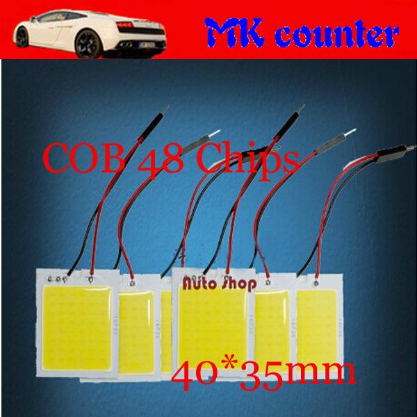 HK post free 50set/Lot Car Dome Panel LED 48 SMD COB Chip 48chips 48LED 12V DC With T10 + Festoon 2 Socket Panel Light Auto<br><br>Aliexpress