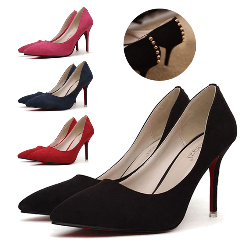 Solid Color Rivet high heels mujer red bottom Pumps Thin Heels Flock Shoes Women New 2015 pointed toe heeled Size 34-39 - Dreamboat Store store