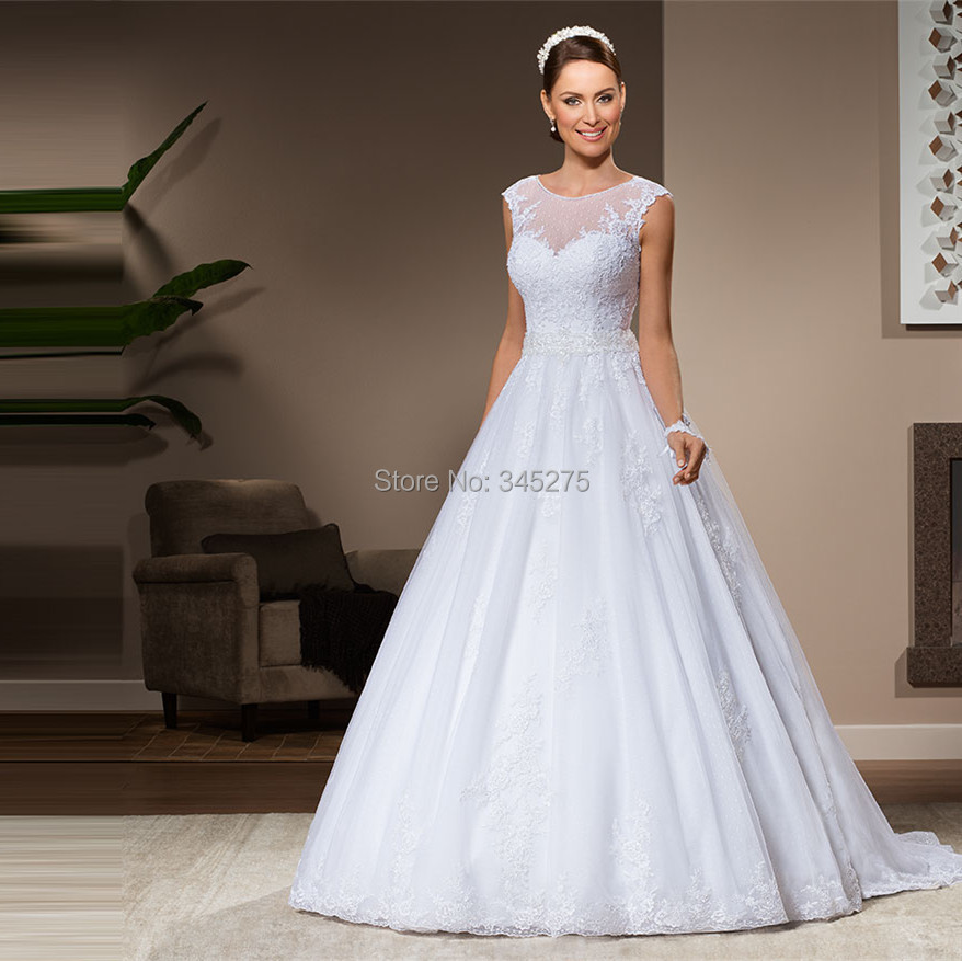 Buy brazil lace and tulle sleeveless for Wedding dress with illusion top