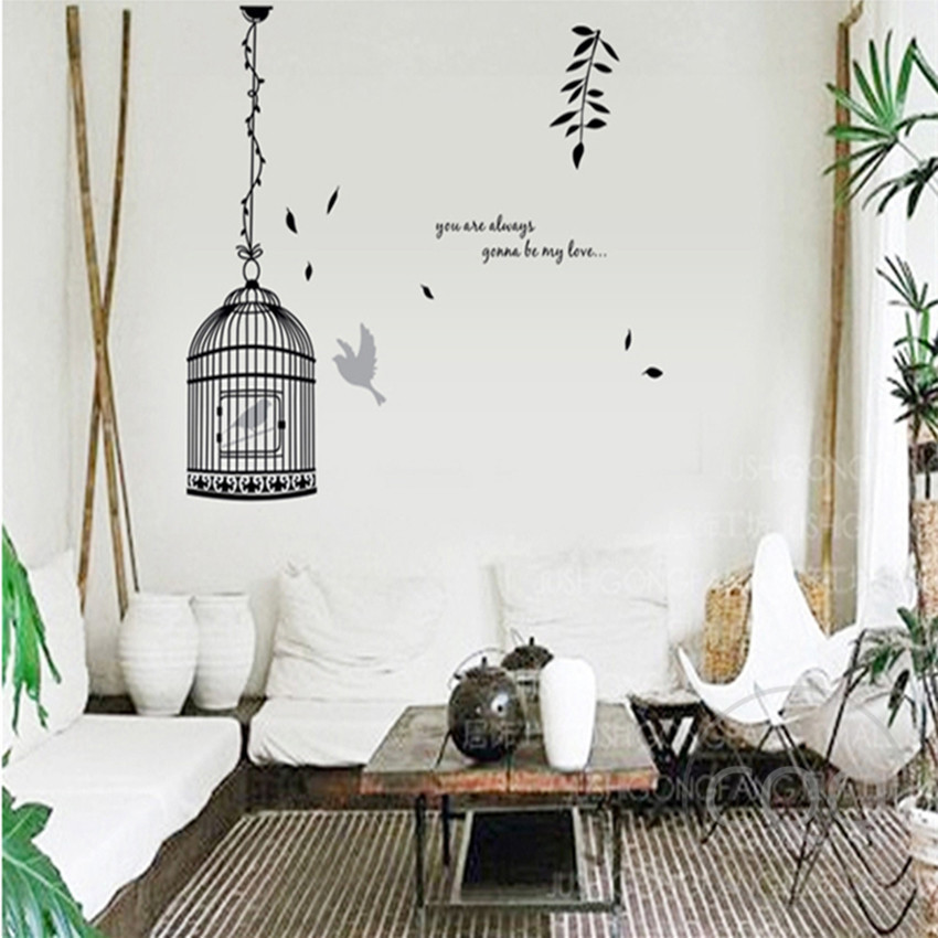 birdcage wall stickers bird in a cage decoration black