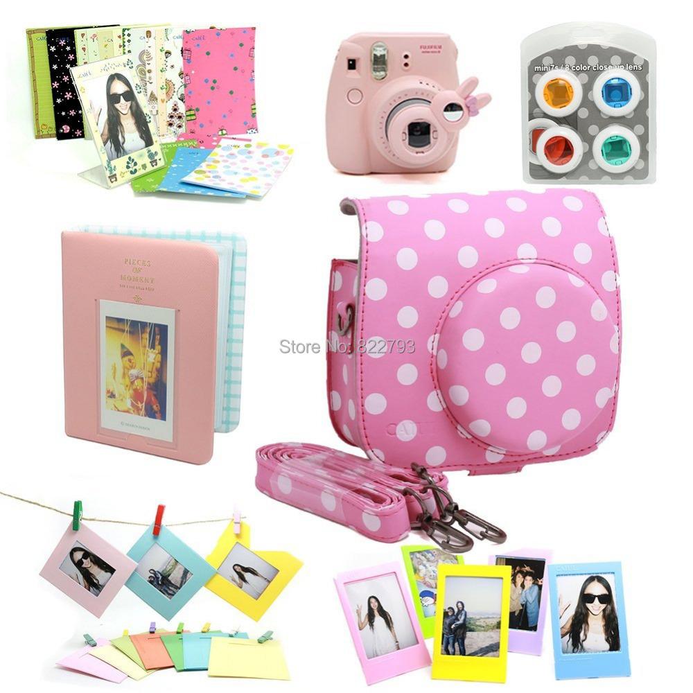 Pink&White-- Fujifilm Instax Mini 8 Instant Camera Accessory Bundles Set - Fashion gift accessories store