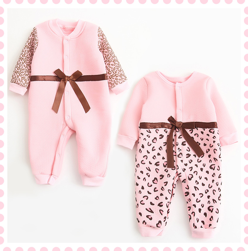 0-12M/spring autumn winter new born baby girl clothes Leopard Cute bow warm rompers jumpsuit costume for babies clothing BC1424(China (Mainland))