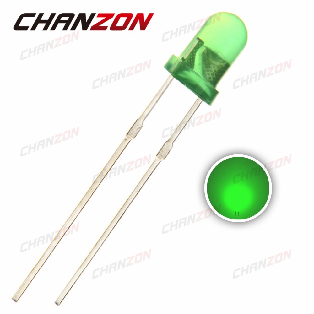 100pcs 3mm LED Diode Green Color Diffused DIP Round 3 mm Light-Emitting Diode Through Hole Light Lamp(China (Mainland))