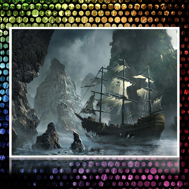 Buy full diamond painting pirate ship in for Crossing the shallows tile mural