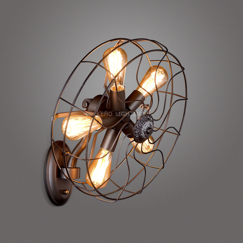 Hot Sell Retro Loft Style vintage Industrial fans Wall Lamp With 5 Head For E27 Edison Wall Sconce Selfdom Electric Fan(China (Mainland))
