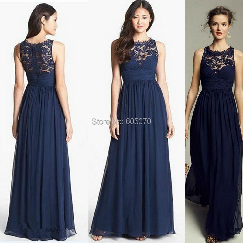 Navy Blue Sleeveless Chiffon  Dark Blue Lace Bridesmaid Dresses