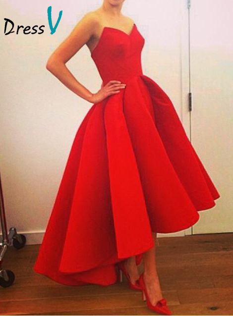 Dressv Elegant Red High Low Evening Dresses 2016 Sleeveless Sweetheart A-Line Party Dress Prom Dress Short Front Long Back(China (Mainland))