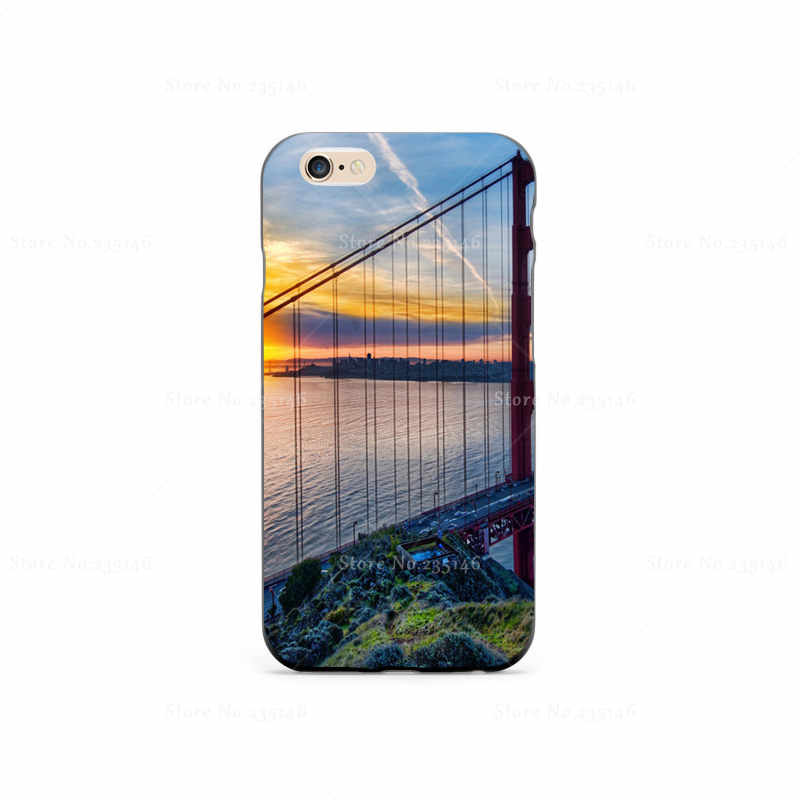 Sunrise At San Francisco Plastic Protective Shell Skin Bag Case For iPhone4s 5s 5c 6plus 6Splus 5.5 Cases Hard Back Cover(China (Mainland))