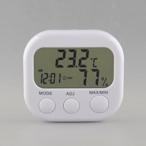 New Digital Thermometer Humidity HYGRO Hygrometer Air Moisture Clock TA638 White Free shipping(China (Mainland))