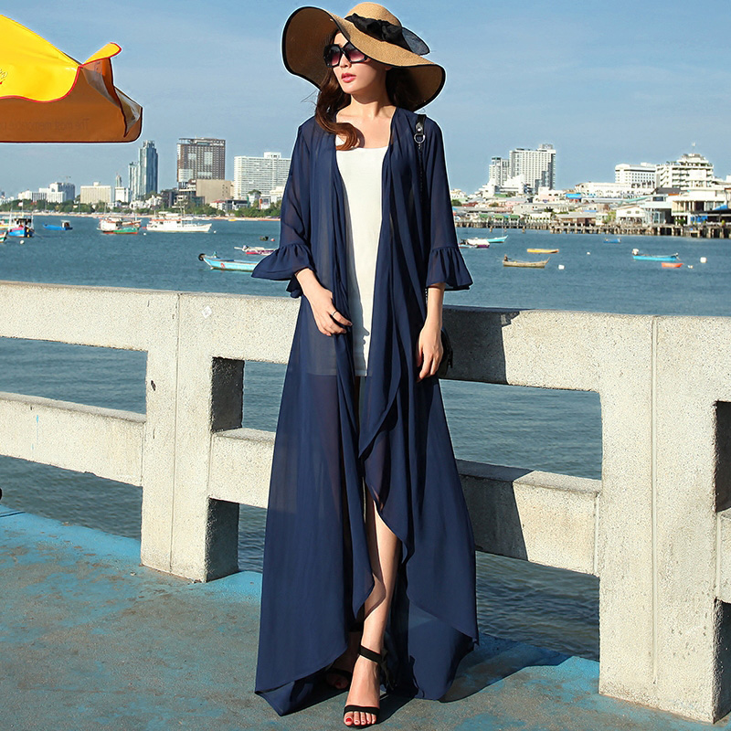 New Women Butterfly Sleeve Maxi Dress Chiffon Floral Floor Length Beach Sun Shawl Cardigan 5 Colors(S-XXL) - Boutique cottages store