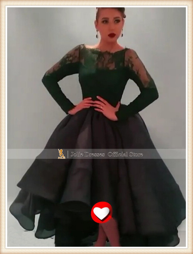 2015 Best Selling Dark Green Lace Long Sleeves Ball Gowns Puffy Princess Elegant Hi-Lo Formal Evening Prom Dresses Orenda - Hong Kong Jolie Dress Co., Ltd. store