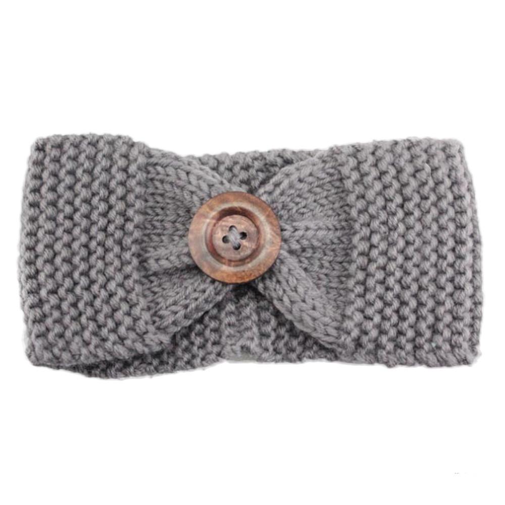 Promotion! Women Button Warm Winter Fashion Knit Headband Wool Knitted Headwrap Headband Ear Warmer Hair Muffs Band Accessories(China (Mainland))