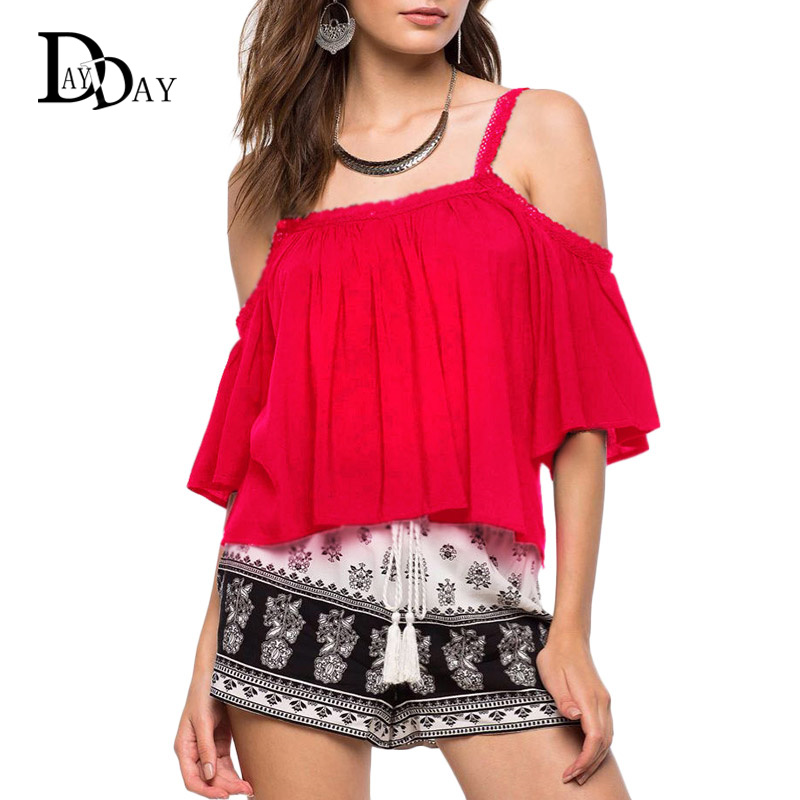 Fashionable Off Shoulder Summer Women Blouse Crocheted Shoulder Strap Sexy Short Top G060122(China (Mainland))
