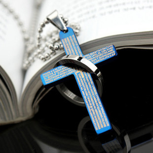 stainless steel pendant necklace bile cross Titanium Steel - spring june's store