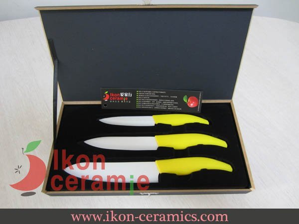 "Free Shipping! High Quality New 100% Zirconia 4"",5"",6"" 3-piece (Yellow) AJX Ceramic Knife set(AJ-TZ3W-AY)"