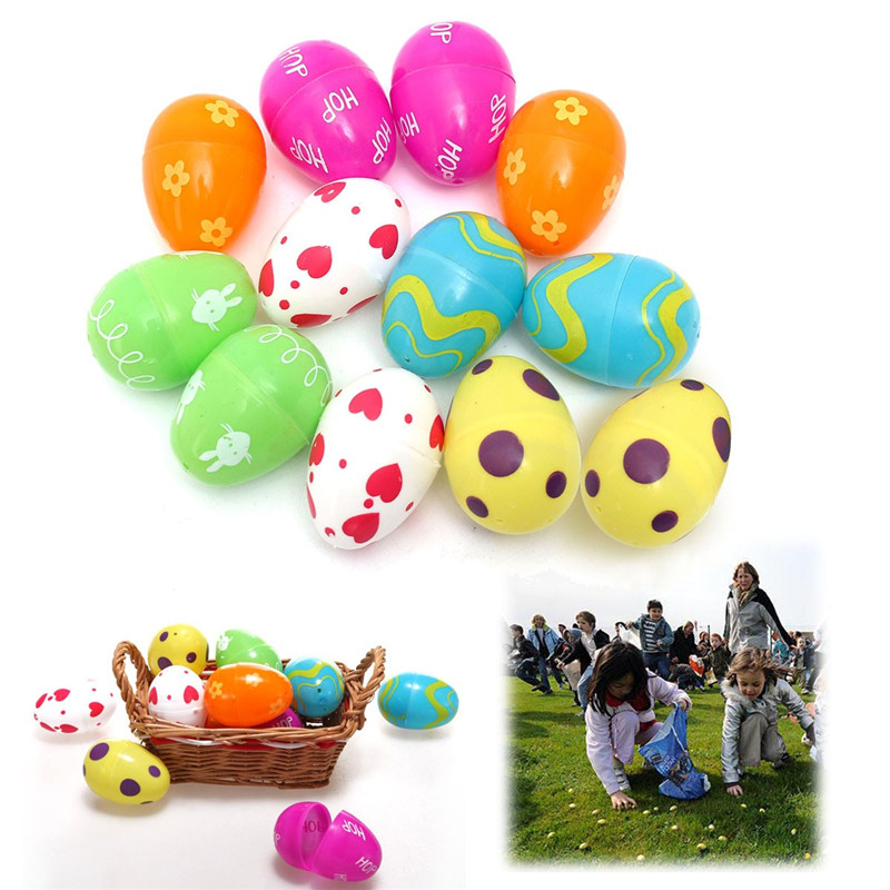Beautiful Design 12PCs Mix Colored Plastic Empty Fillable Easter Eggs Hunt Baby Child Gift Party Home Wedding Decoration(China (Mainland))