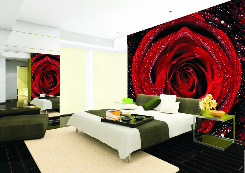 Size can be customized mural wallpaper red rose bedroom for Red bedroom wallpaper