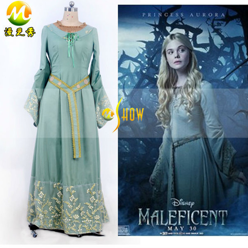 Custom Made Maleficent Princess Aurora Cosplay Costumes Sleeping Beauty Women Blue Dress Halloween 1 set/ - M-Show Store store