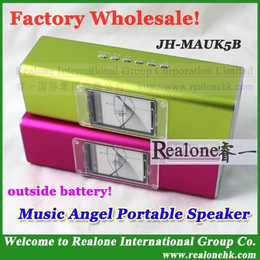 Free Shipping original Music Angel Speaker JH-MAUK5B outside battery  mini portable  speaker support USB/TF card with LCD FM