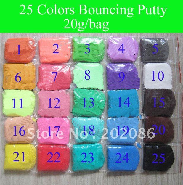 Wholesale 25 colors Bouncing Putty Silly putty handgum Thinkinbg putty Jumping clay 20g/bag 25bags/lot =500g free shipping