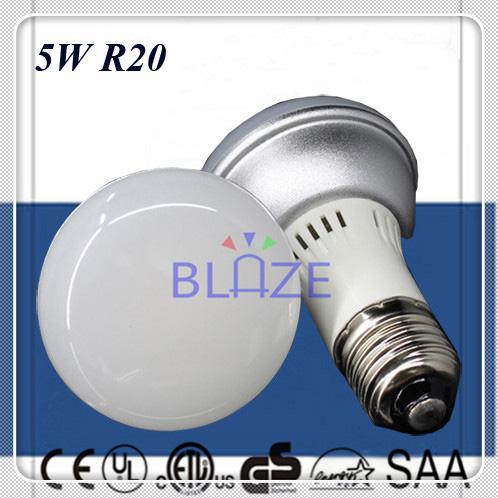 ETL CE 5W Dimmable Non-Dim 5 Watt R20 BR20 COB LED Light Bulb E26 E27 globe 50W Incandescent Replacement Free Shipping FedEx/DHL(China (Mainland))