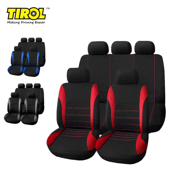TIROL T21620 Universal Car Seat Cover 9Pieces/Set Black/Red/Blue/Gray Full Seat Covers For Crossovers Sedans Free Shipping