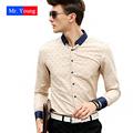 Long Sleeve Dot Contrast Color Men Cotton Luxury Brand Shirt Slim 2016 New Brand Clothing Men