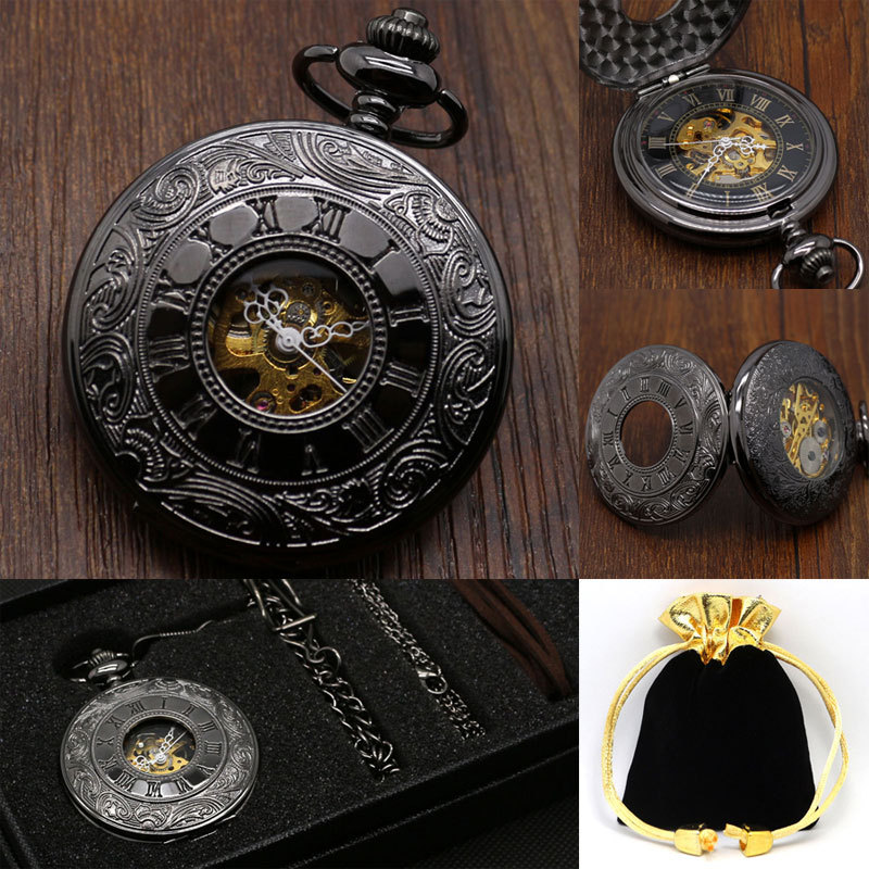 Hollow Vintage Semi Automatic Skeleton Mechanical Pocket Watch Chain Mens Gifts P807WBWB(China (Mainland))