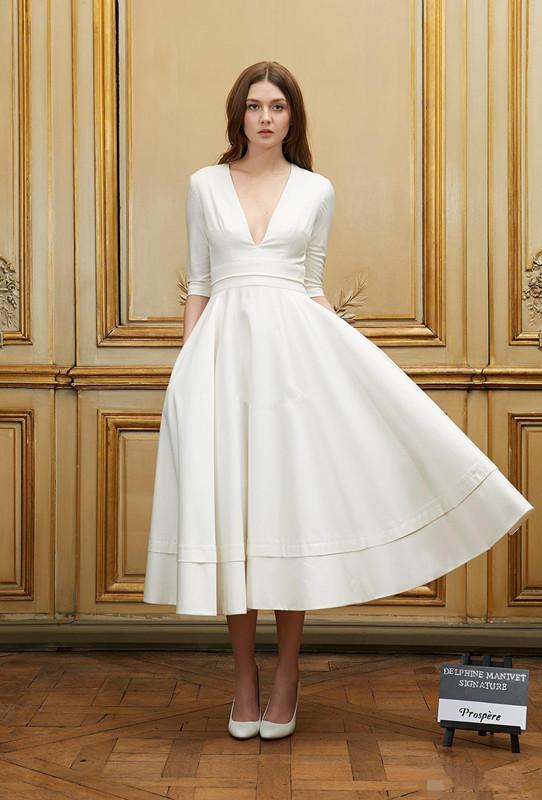 New arrival sexy deep v neck a line wedding dress zipper for V neck tea length wedding dress
