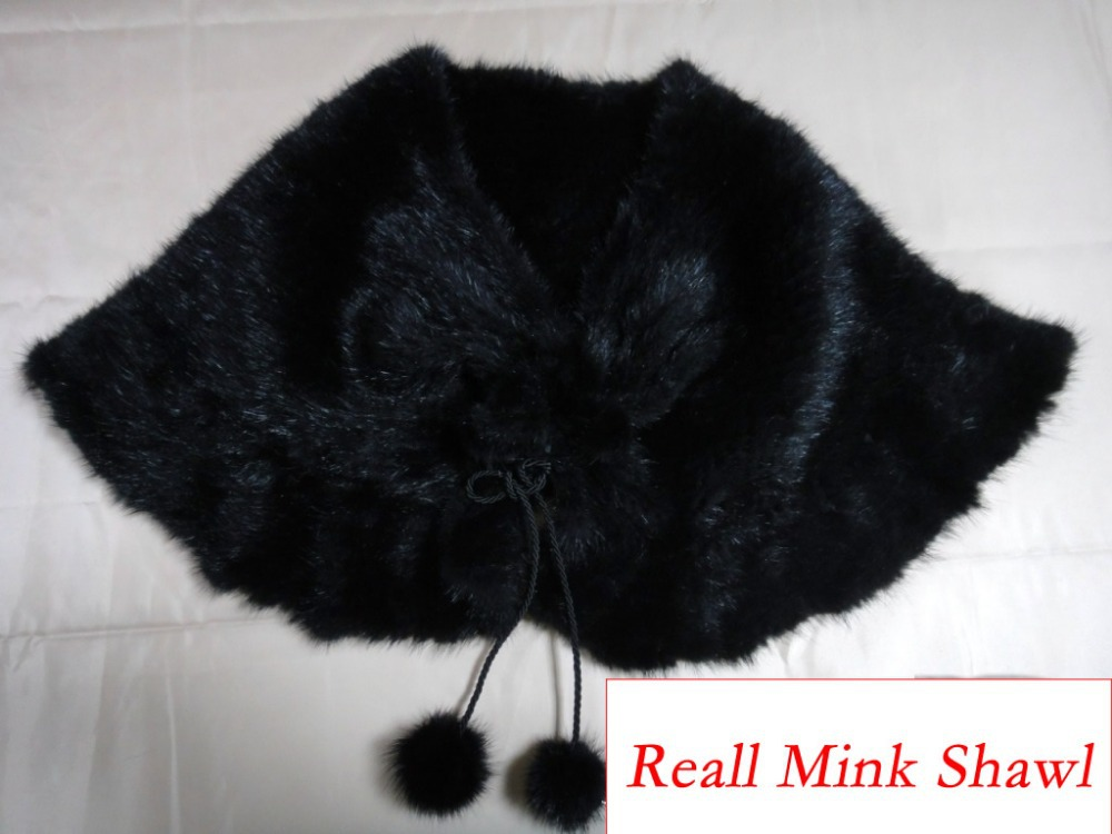 Le037f Autumn Winter Women's Genuine Real Mink Fur Cape Fashion Female mink shawl - Gangnam Style Store store