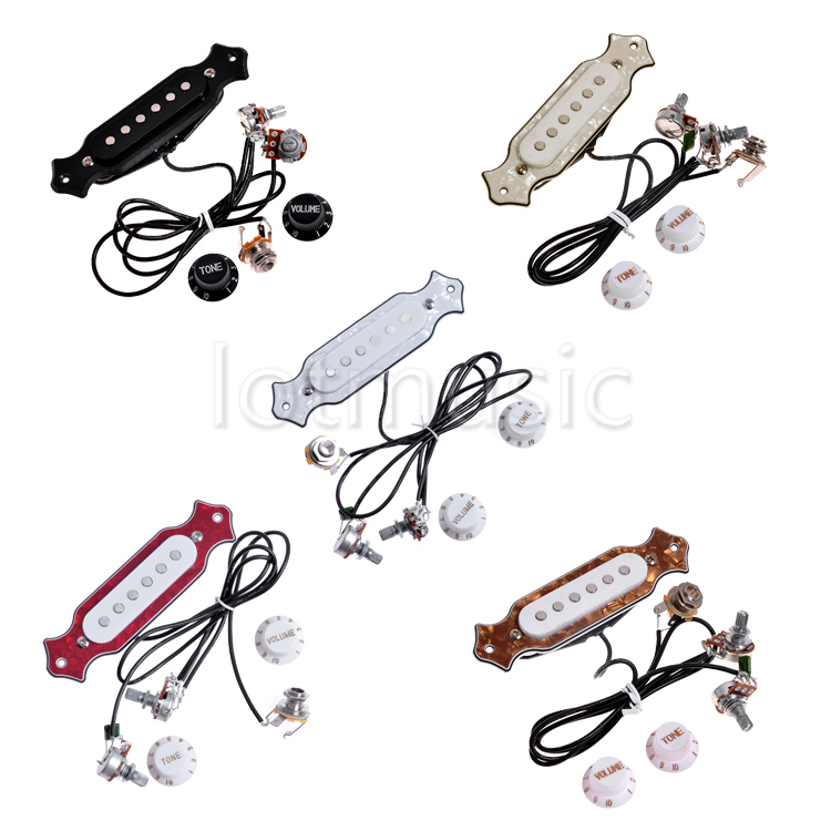 5 Sets Different Color Acoustic Guitar Soundhole Pickup Prewired Pot Knob Jack Set(China (Mainland))