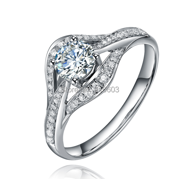 Paris Romantic 0.5 Carat Round Brilliant Fine Moissanite Center Pave Engagement Wedding Ring In 14K White Gold (585 Gold)<br><br>Aliexpress
