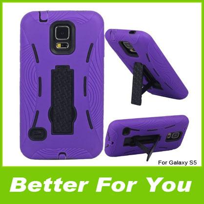 300pcs/l For Samsung Galaxy S5 Robot Cases,Hybrid TPU PC Plastic Stand Case Cover For Samsung Galaxy S5 S V I9600 DHL(China (Mainland))
