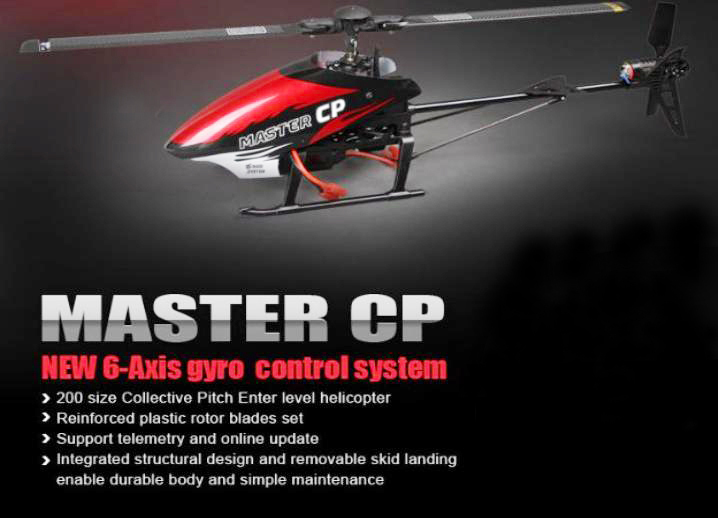 New Walkera Master CP RTF Flybarless 6-Axis-Gyro Brushed 2.4G 6CH 3D RC Helicopter With DEVO-7E Transmitter Ready To Fly toys(China (Mainland))