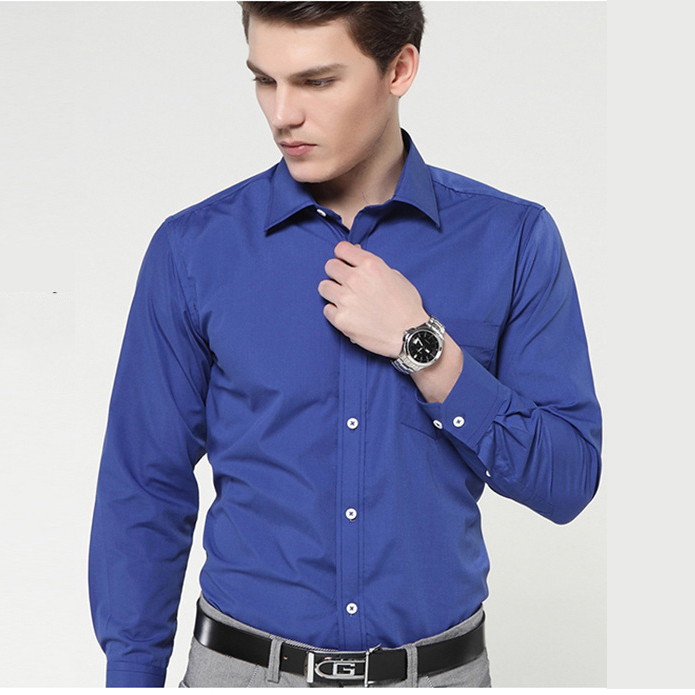 Men Long Sleeve Cotton Dress Shirt French Cuff Brand Solid