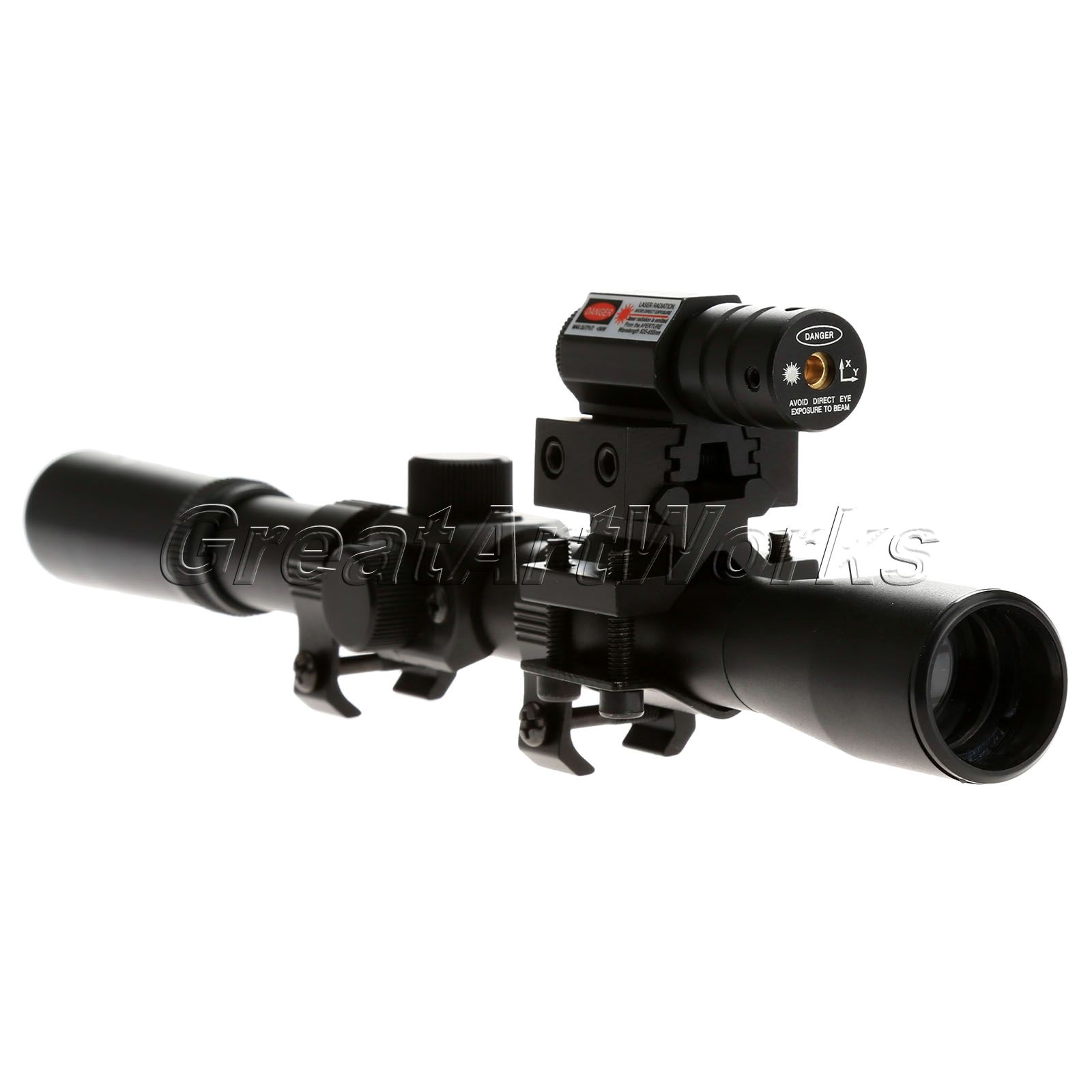 4x20 Air Gun Rifle Optics Scope Caza Tactical Riflescope +20mm Rail Mounts +Red Dot Laser Sight For Hunting<br><br>Aliexpress