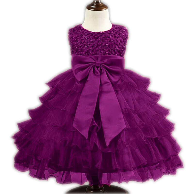 2016 Summer Newborn Formal Dress Purple Sleeveless Infant Baptism Ball Gown Dress Clothes For Toddle First Birthday Party(China (Mainland))