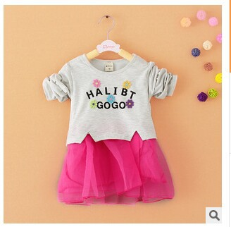 2015 spring girl dress Long sleeve white gauze Baby girl's baby clothing Children 0-6 age - Boys *girls store