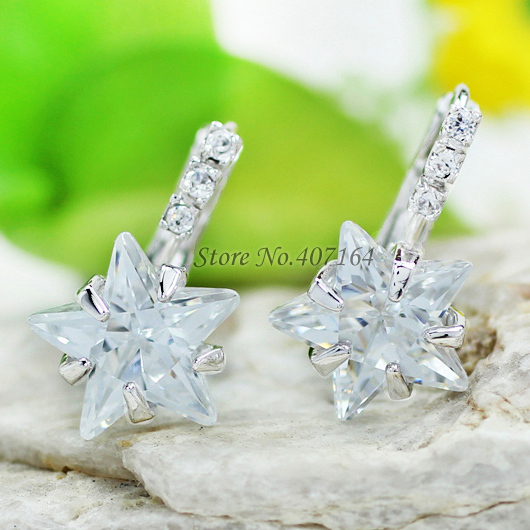 Hot trendy 18K gold earrings 2015 big drop clear cubic zirconia stone star women - SunFlower Trade Co.,Ltd store