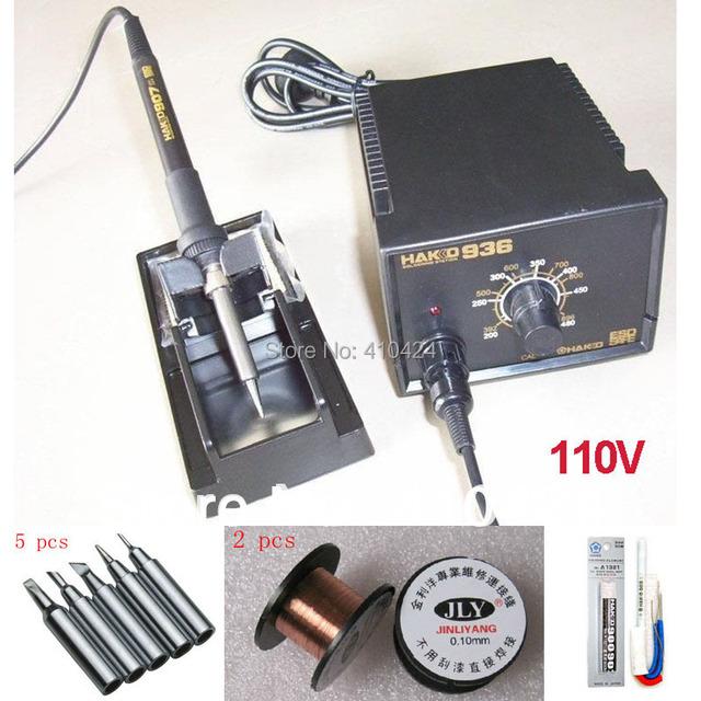 110V Hakko 936 Soldering Station + 907 Soldering Handle + 5pcs free tips + 2pcs Welding line + 1pcs A1321 Ceramic Heater