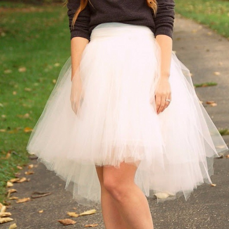 2015 new fashion tulle skirt high low knee length with