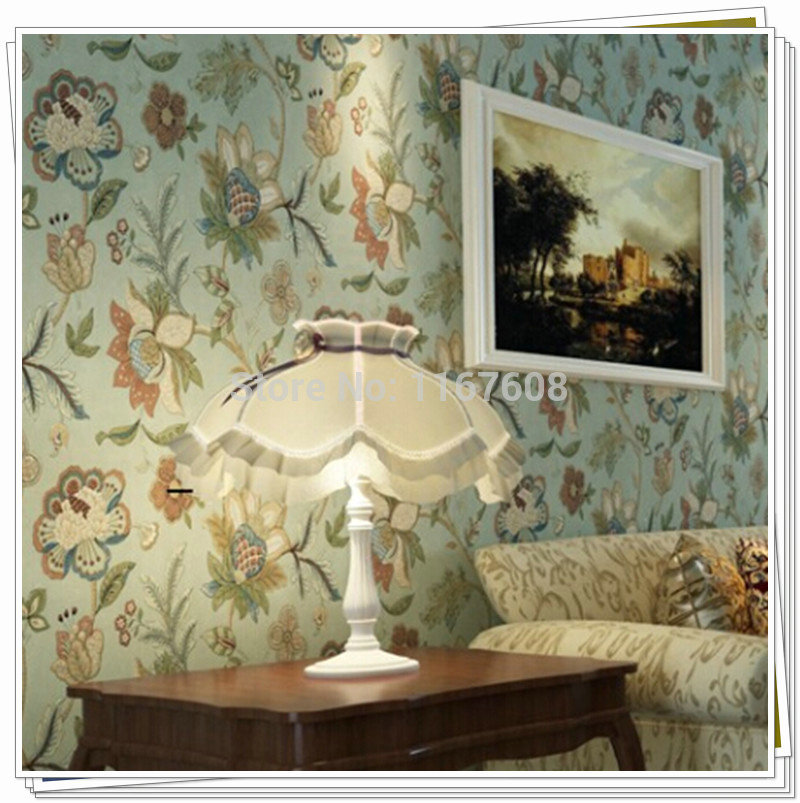 vintage country wall paper floral wall paper roll 10m. Black Bedroom Furniture Sets. Home Design Ideas