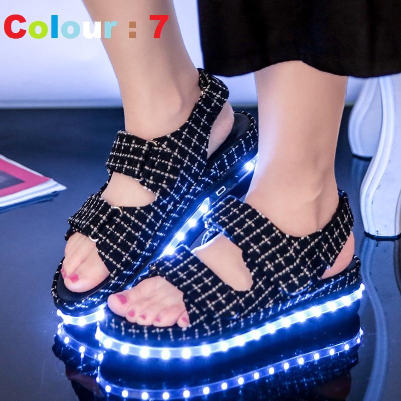2016 Women LED Luminous Shoes Summer Led Creepers Sandals Light Shoes Sandals Air Led Luminous Sandals Shoes Walking Shoes(China (Mainland))