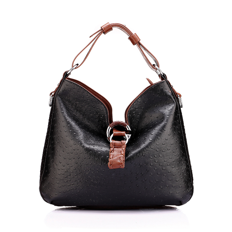 women's hobos handbags shoulder bags for lady female dot Ostrich leather style large capacity PU white red brown black fashion(China (Mainland))