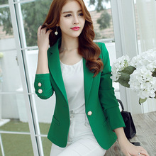 New Long Sleeved Slim Women Blazers And Jackets Small Suit Korean Version Slim Green Yellow Black