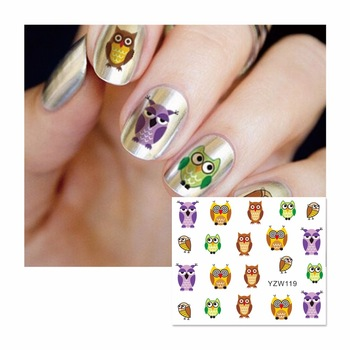 YZWLE 1 Sheet Nail Water Sticker Cute Colorful Owl Designs Nail Art Beauty Water Stickers Nails Decoration Decals Tools 119