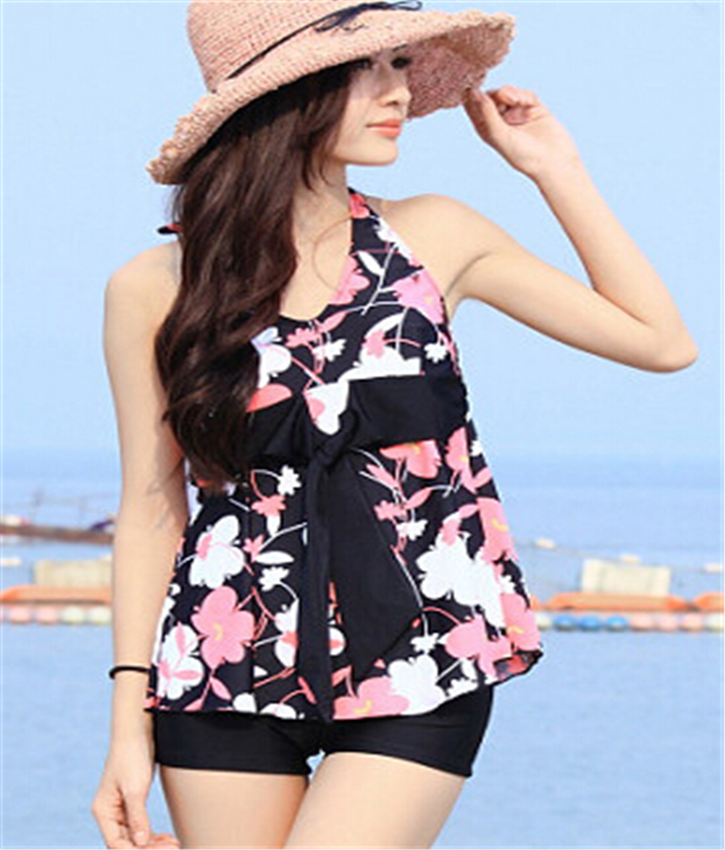 2015 two pieces swimsuit women swimwear push up tankinis set floral parttern summer ladies. Black Bedroom Furniture Sets. Home Design Ideas