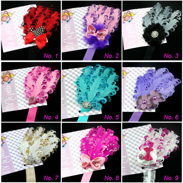 Hot New design Feather and rhinestone headband, Baby Headbands, Photo Prop, Headband, Baby Bows 10PCS/Lot 19 color+Free shipping