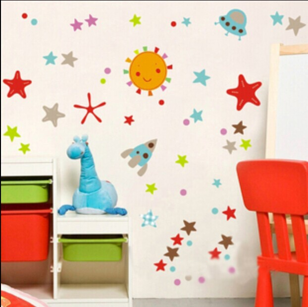Free shipping parlour bedroom decoration Sofa TV background can remove Wall sticker Space travel DM57-0080(China (Mainland))