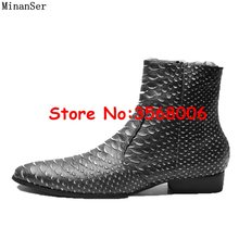 Yılan Derisi Deri Sivri Burun Fermuar Yüksek Top Erkekler Chelsea Bot Ayakkabı Roma Tarzı Rahat Bahar Sonbahar Erkek yarım çizmeler Ayakkabı(China)
